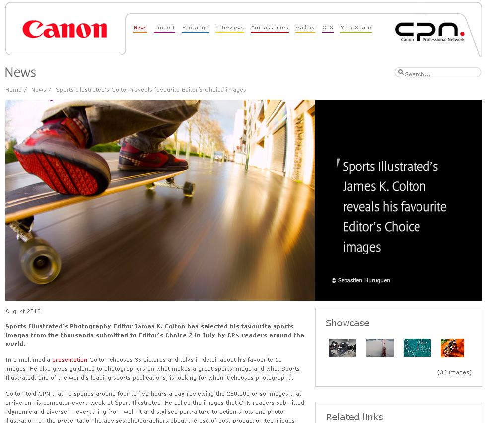 La photographie de Sébastien Huruguen sur un longskate dans les rues de Toulouse France fait la une du concours Canon CPN Editor's Choice 2 dans la catégorie Sports présentée sur le site Canon