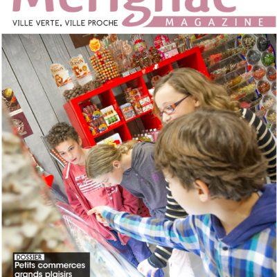 Couverture Merignac magazine n42 Sebastien Huruguen cholocaterie confiserie centre ville tramway enfants vitrine noel