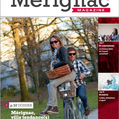 Couverture Merignac magazine n45 Sebastien Huruguen Vcub velo couple merignacais parc mairie
