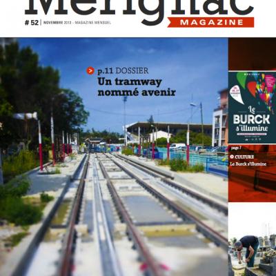 Couverture Merignac magazine n52 Sebastien Huruguen travaux du tramway CUB bordeaux rails station