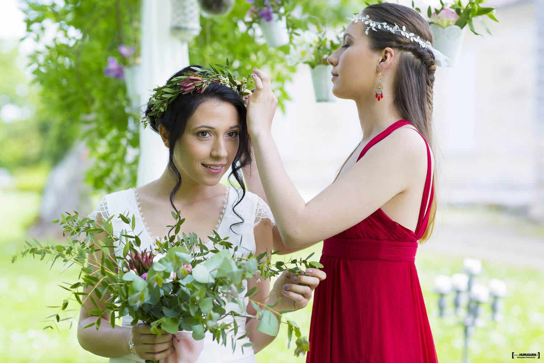mariage, bordeaux, aquitaine, gironde, sebastien huruguen, photographe mariage, photographe mariage bordeaux, portrait de la mariée et de sa demoiselle d'honneur