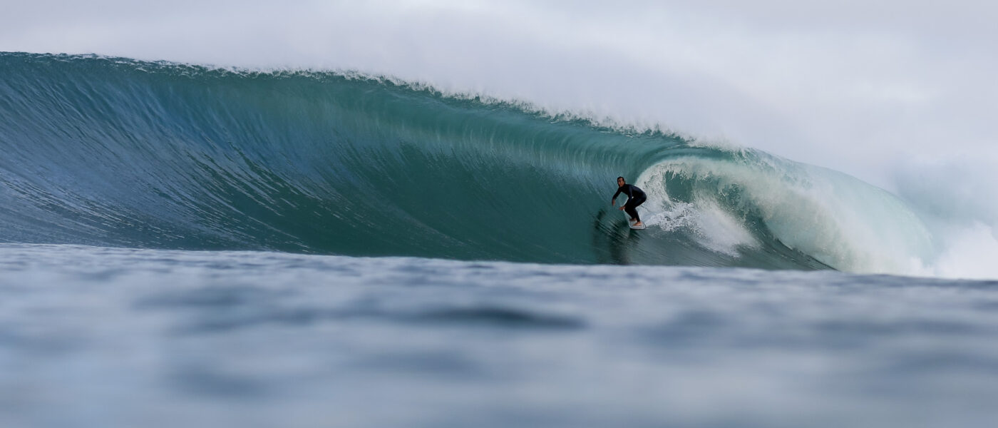 Nicolas Brieda step off surfing in Hossegor Culs Nus tube riding barrel glassy sebastien huruguen