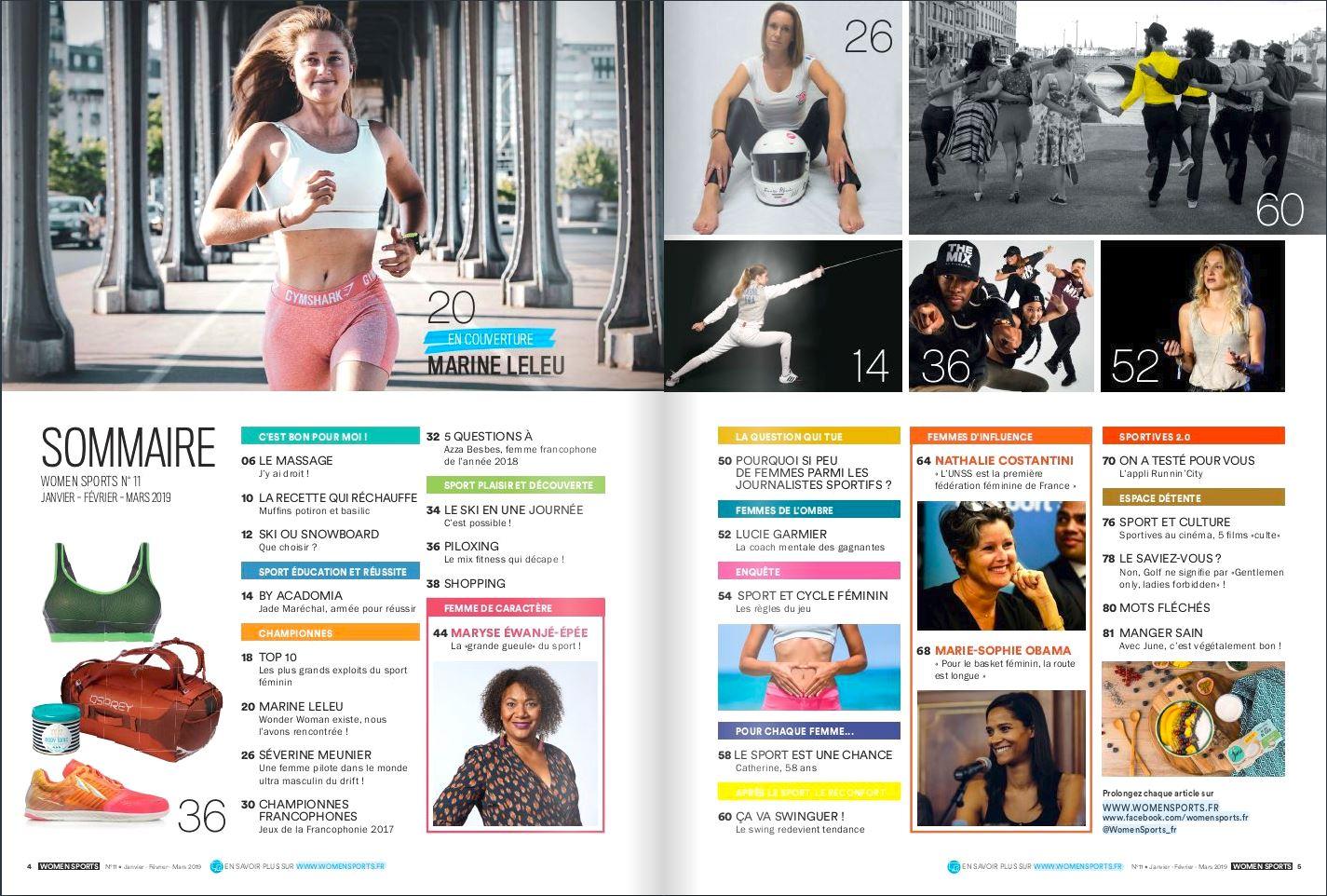 sommaire magazine women sports n°11 janvier fevreier mars 2019